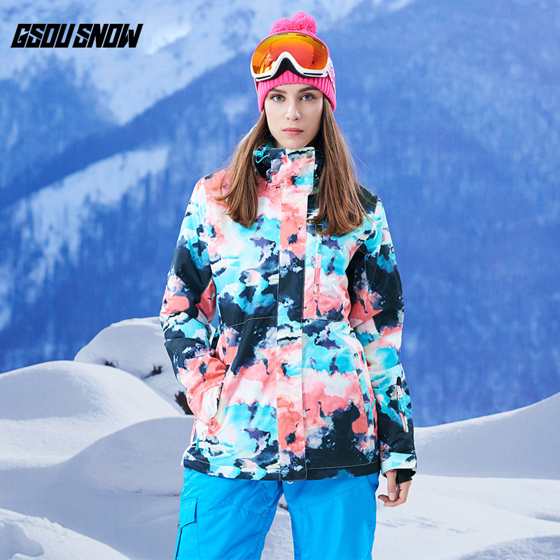 GSOU SNOW Brand Ski Snowboard Jackets Womens Waterproof Skiing Snowboarding Coats Female Winter Cheap Snow Clothes Warm Suits цена