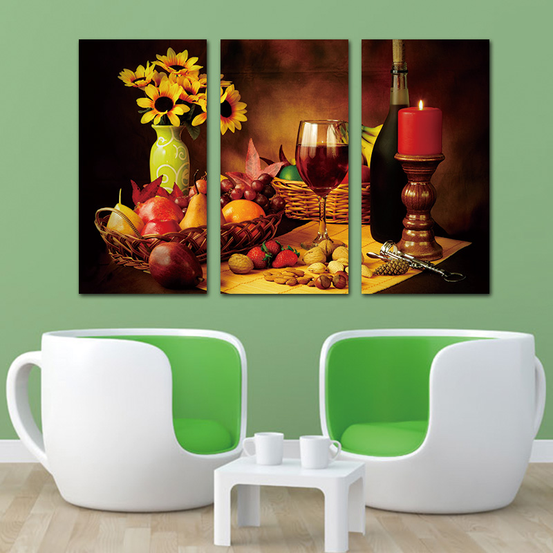 Us 8 21 47 Off 3 Panel Canvas Picture Wall Art Reto Abstract Wine Grape Fruit Vintage Home Wall Decor Print Painting On Canvas For Kitchen In