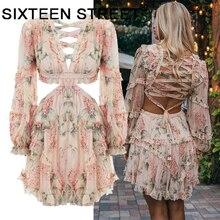 New spaghetti pink Designer Runway Dress Women's Hollow Out Ruffles Floral Print Chiffon Mini Dress Sexy Backless Deep V neck