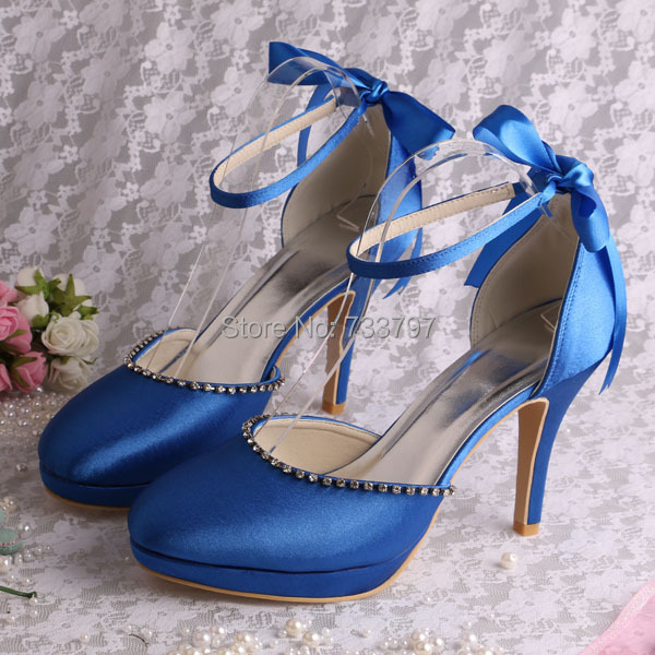 20 Colors Royal Blue Ribbon Sandals Women Shoes High Heels Closed Toe Dropship