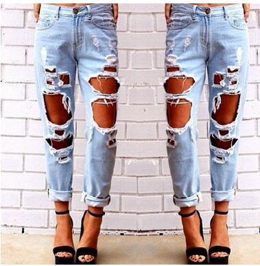 Европейский стиль, женские джинсы, летняя мода, уличная одежда с большим отверстием, новинка, тонкие, полная длина, рваные джинсы, женские брюки-карандаш, 0093 - Цвет: Синий