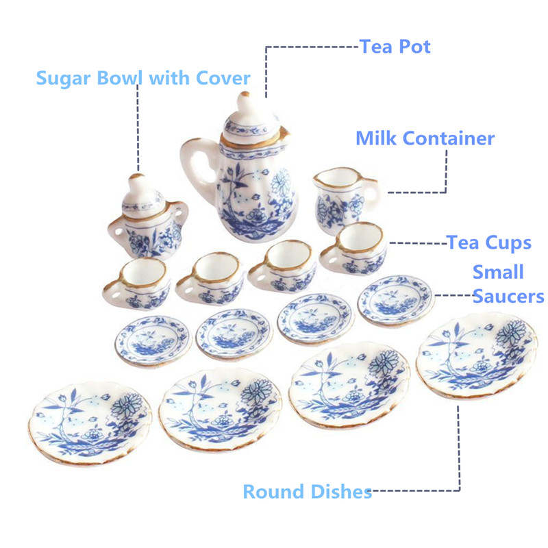 Dollhouse Miniature Set of 4 Blue /& White Ceramic Flower Pots with Saucers