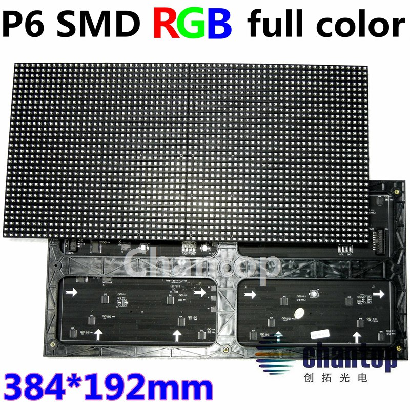 Indoor P6 SMD RGB 384 * 192mm Vollfarb-LED-Video-Display-Modul 64 * 32 Pixel Bildschirm Wandplatine 1/16 Scan-Laufwerk Semi-Outdoor