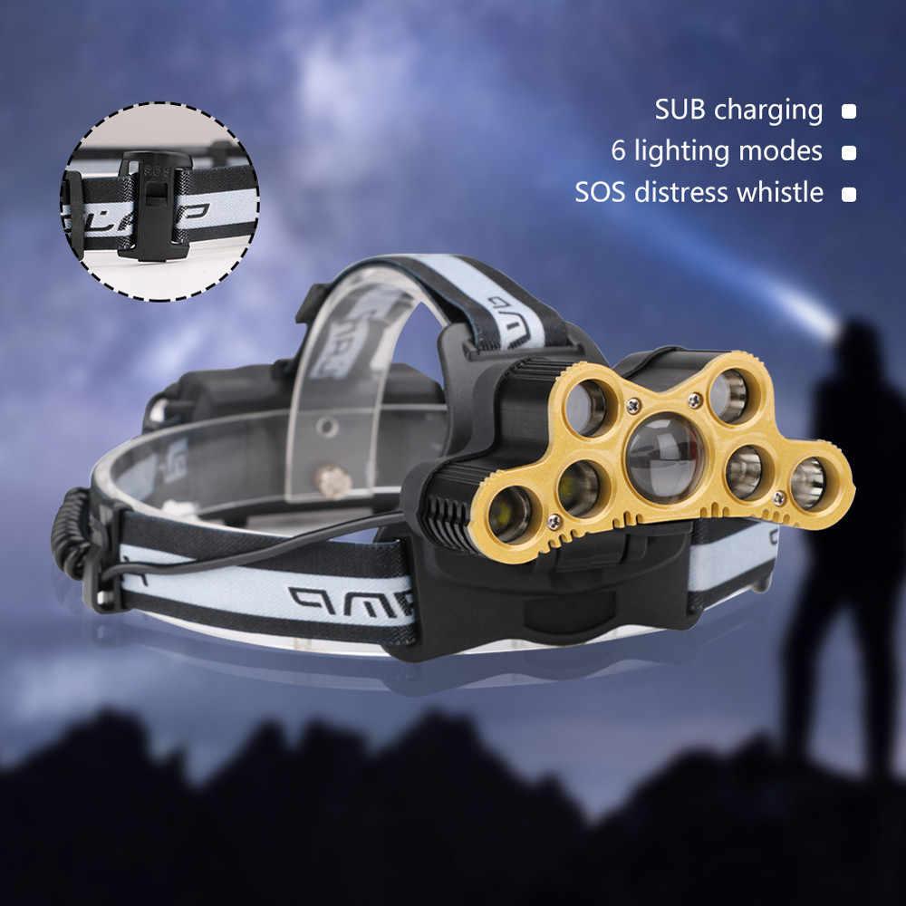 7 * XML T6 Led Far USB Şarj Edilebilir Far 6 Modu 18650 Kamp 190g Alüminyum Alaşım + PVC Oyma balıkçılık Bisiklet #5S10