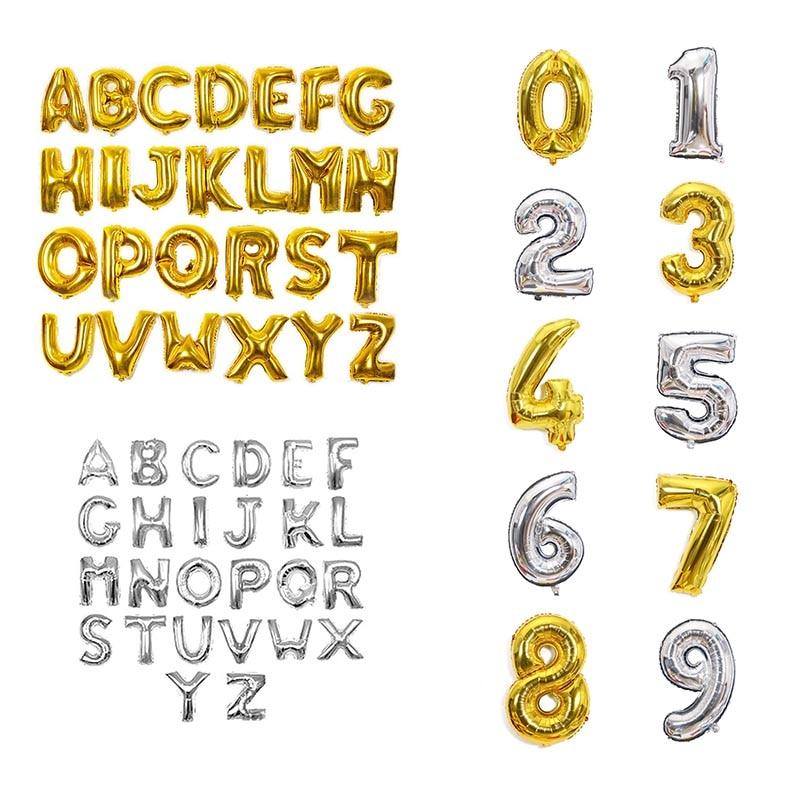 Ouro & prata letra número da folha balões 1pc 16 polegada alfabeto digital balões infláveis festa de aniversário do casamento decorações diy