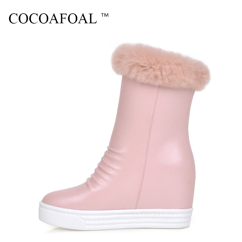COCOAFOAL Women's Winter String Bead Snow Boots Fashion Black Pink Flat With Snow Boots Round Toe Height Lncreasing Snow Boots black snow