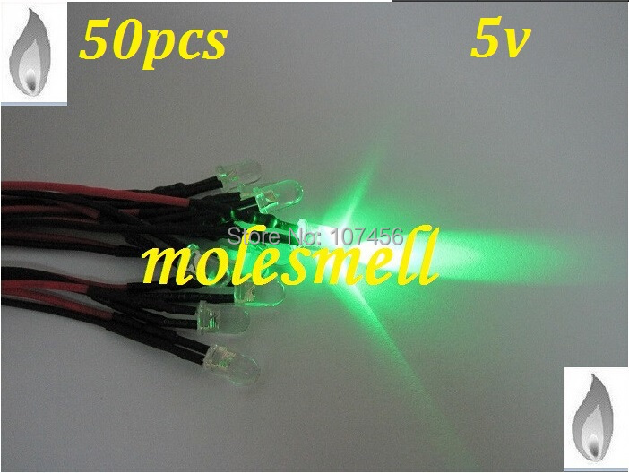 Free Shipping 50pcs 5mm Green Flicker 5V Pre-Wired Water Clear LED Leds Candle Green Light 20CM