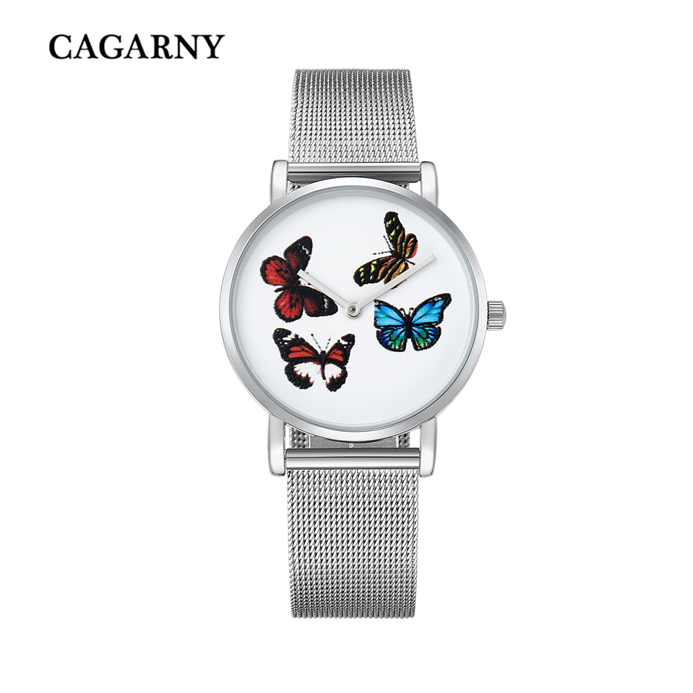 top luxury brand cagarny quartz watch women silver stainless steel mesh band simple style ladies wrist watches waterproof 2019 trendy (10)