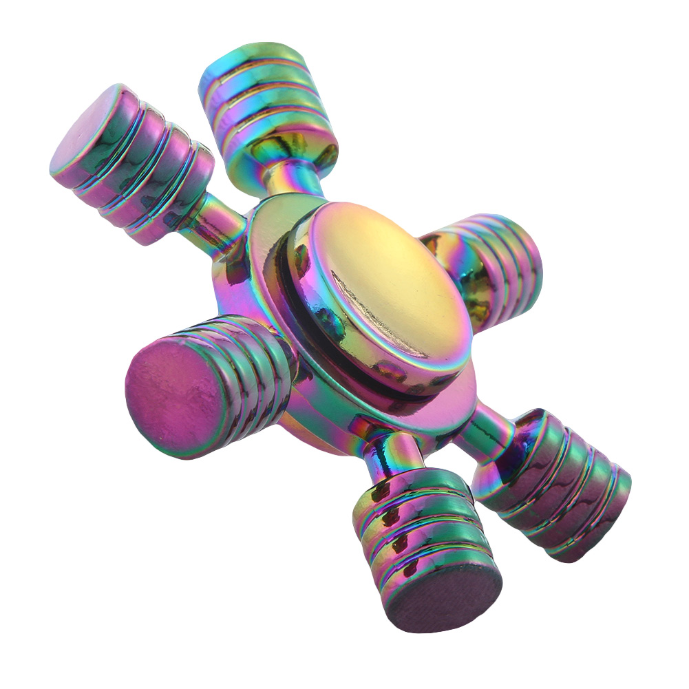 Fingertips Spiral 6 Horn Metal Hand Spinner Rainbow Color For Childen And Adult Stress Relief Toy Fidget Spinner