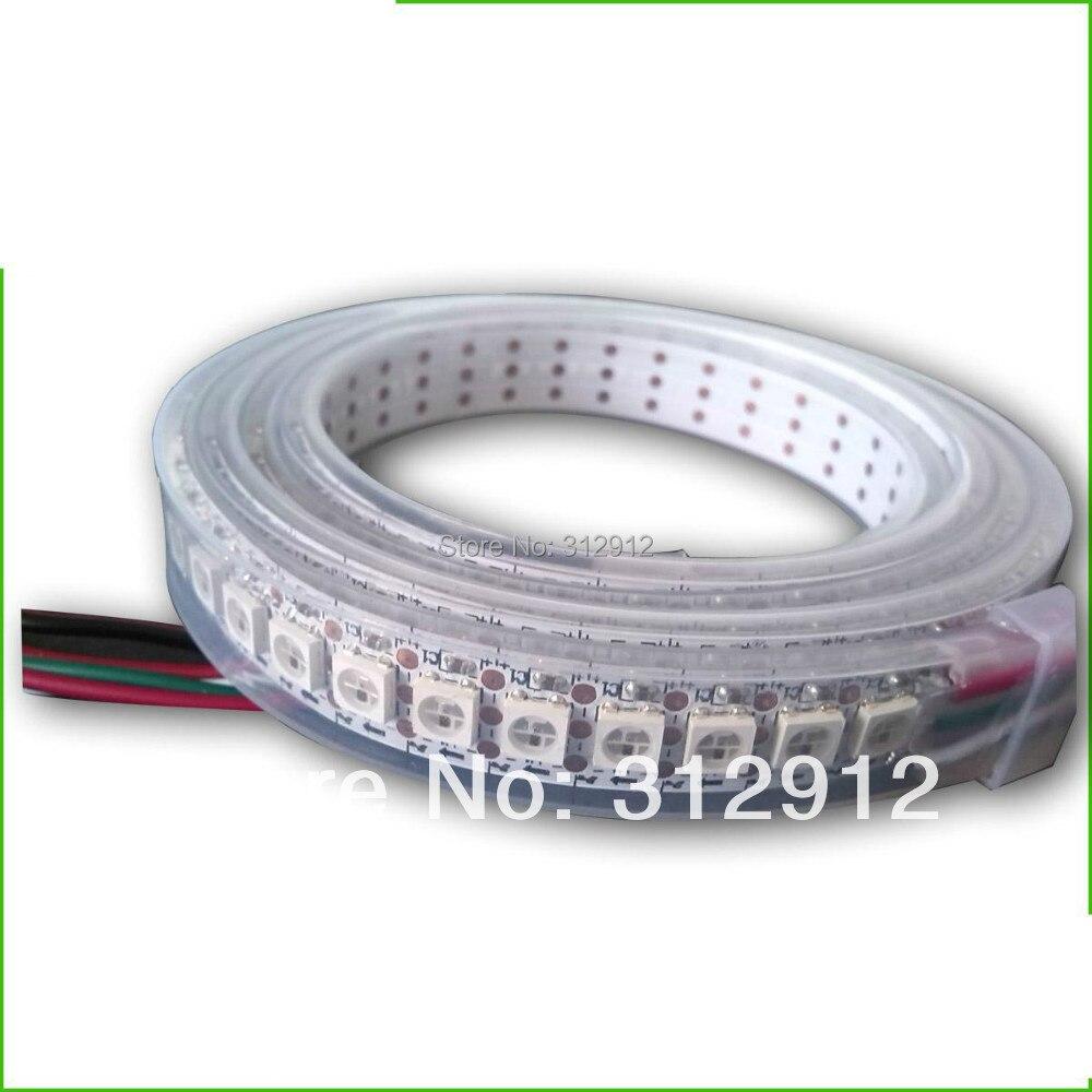 144 leds/m WS2812B (5050 rgb led avec WS2811 IC intégré) bande de pixels led, DC5V, 2 m de long; étanche dans un tube en silicone; PCB blanc