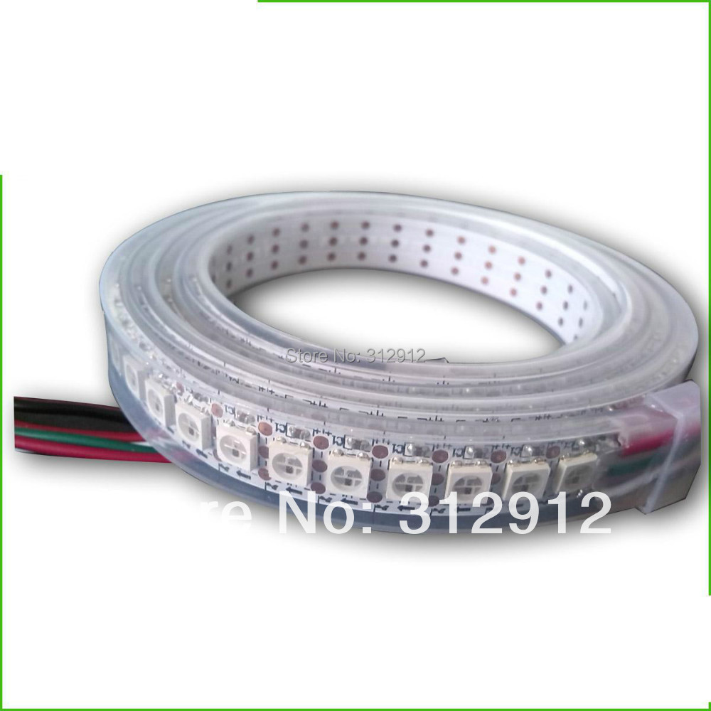 144leds/m WS2812B(5050 rgb led with WS2811 IC built-in) led pixel strip,DC5V,2m long;waterproof in silicon tube;white PCB smart controller 5m ws2811 led digital strip 30leds m with 30pcs ws2811 built in the 5050 smd rgb led chip