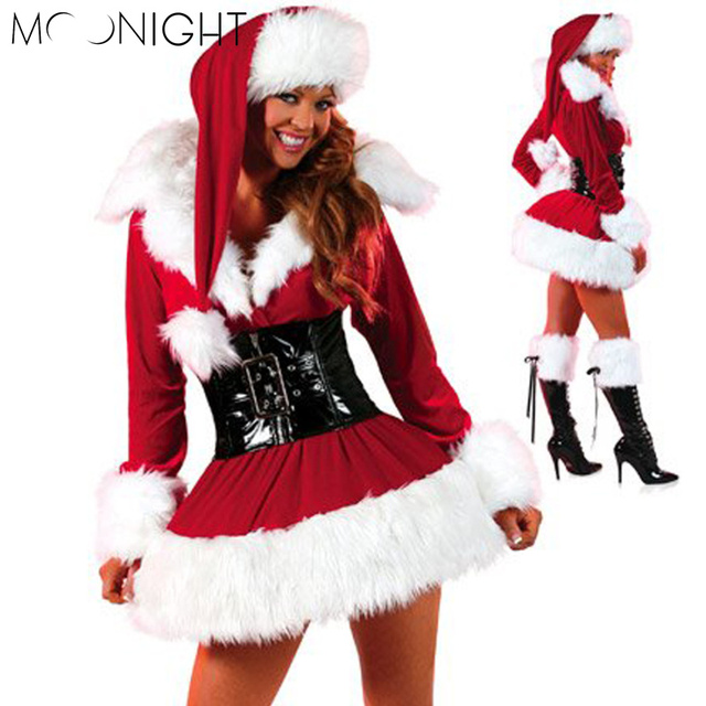 MOONIGHT 2 Pcs New Year New Arrival Sexy Christmas Costumes For Women Red Long sleeve Strapless Dress Christmas One Size