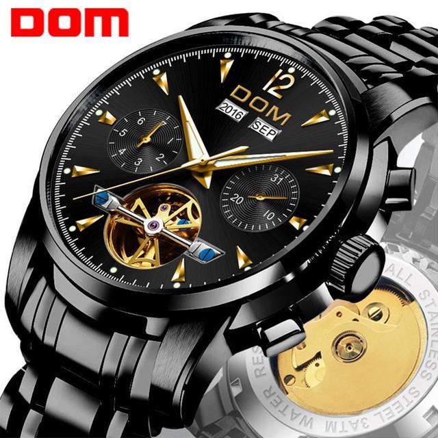 DOM ساعة ميكانيكية الرجال المعصم التلقائي ريترو ساعات الرجال مقاوم للماء الأسود كامل الصلب ساعة ساعة Montre أوم M 75BK 1MW