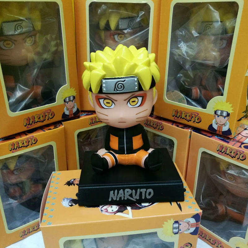 Naruto Uzumaki Bobble Head Phone Holder PVC Figure Collectible Model Toy