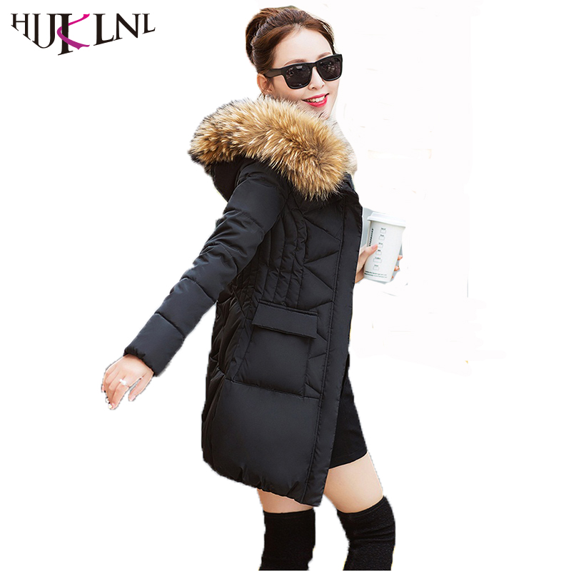 HIJKLNL 2017 Winter Coat Women Long Thick Winter Jacket Withe Fur Collar Ladies Cotton Padded Parkas Outerwear Overcoat ST241 2015 winter jacket women cotton padded jacket women fur collar ladies winter coat thickening outerwear long denim parkas h4451