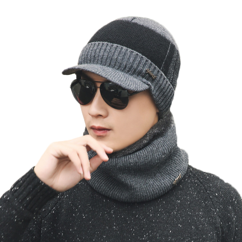 2018 New Brand Solid Color Knit Beanies Hat Scarf Plus Velvet Winter Hat Men Women Warm Thicken Hedging Cap Ski Soft Scarves Set