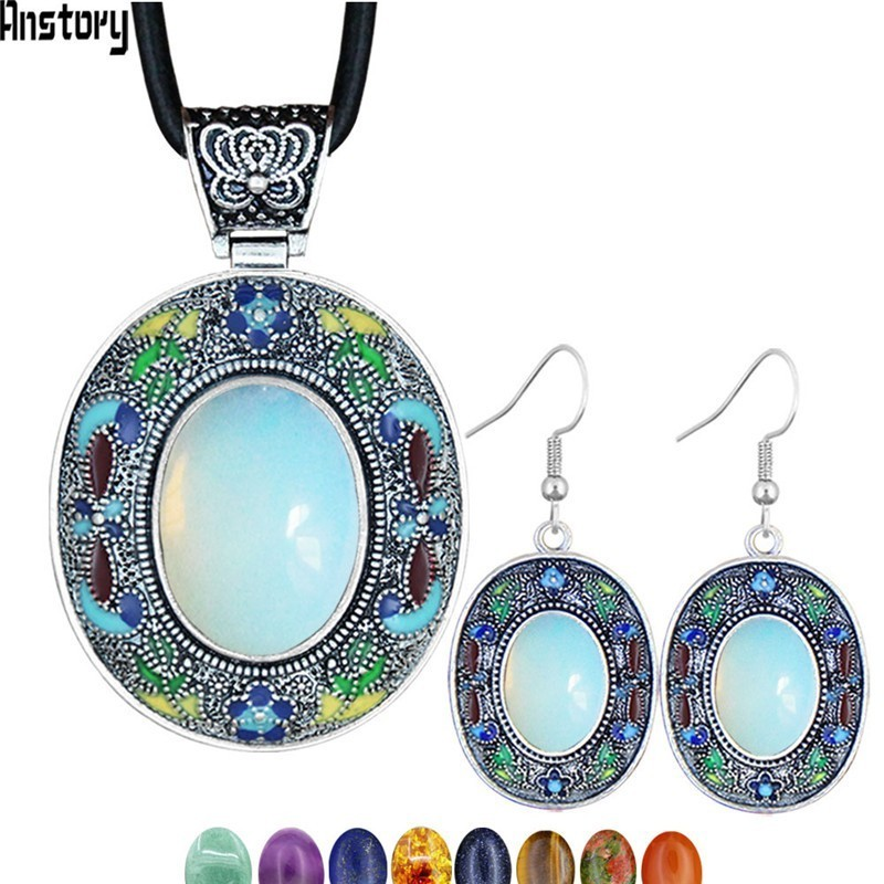 Vintage Oval Opal Jewelry Sets Natural Lapis Tiger Eey Unakite Quartz Necklace Earrings Bohemia Fashion Jewelry NE+EA TS456(China)