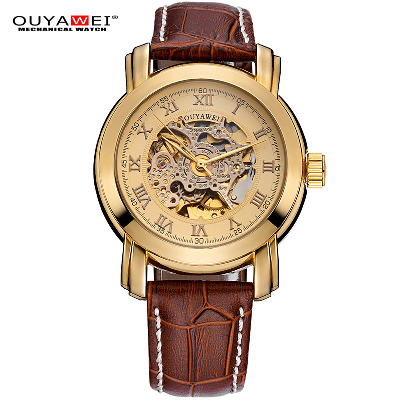 OUYAWEI Relogio Masculino Mens Watch Mechanical Roman Number Skeleton Self-winding Automatic Sports Wristwatch Leather Strap luxury women hand winding mechanical wrist watch genuine leather band strap dress wind up skeleton roman number stylish