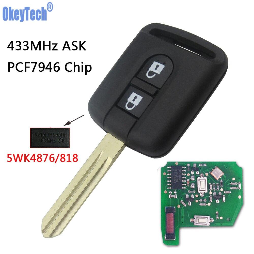 OkeyTech Remote Key Fob 433MHz PCF7946 Chip 5WK4 876 / 818 For Nissan Qashqai Elgrand X-TRAIL Navara Micra Note Cabster NV200