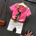 2016 Hot New Spring Summer Kids Children With Short T-Shirt Boy's Casual Pants Belt Dress Sets Boy's Clothing