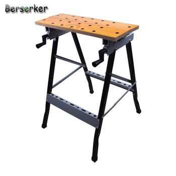 Berserker Folding Work Bench Steel Table Garage Portable Tool Workbench and vise (200 lbs Capacity)