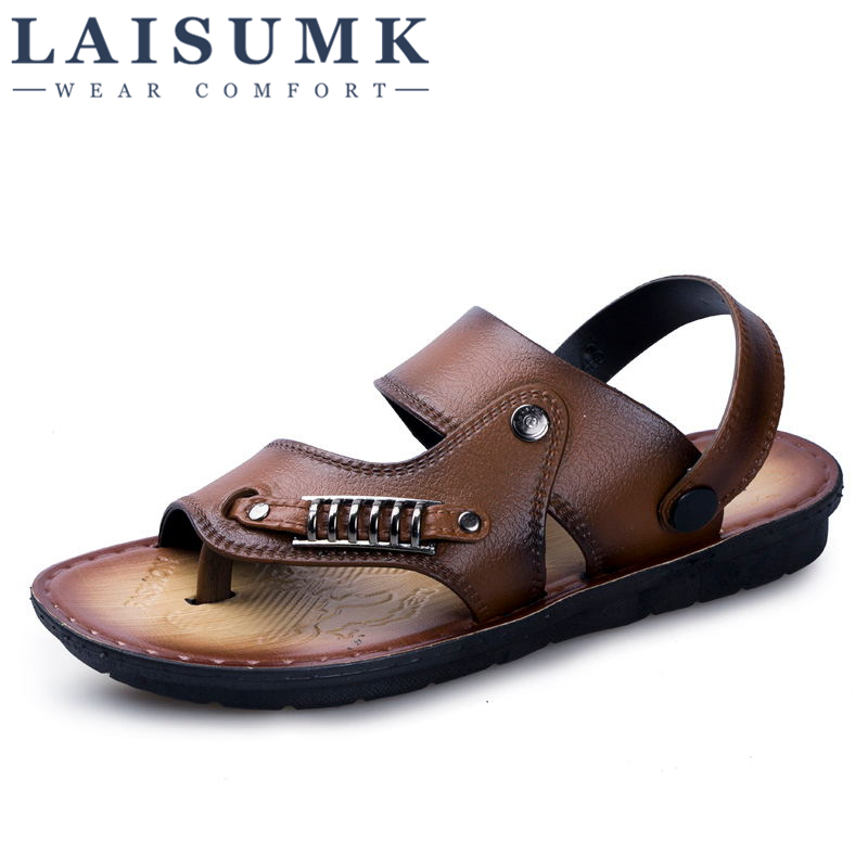 2019 LAISUMK Summer Mens Sandals Slippers Leather Outdoor Casual Men Beach shoes