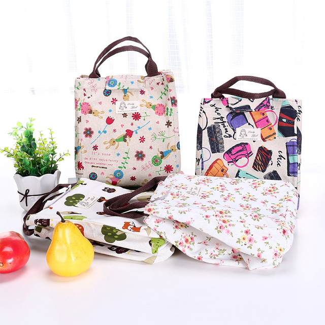 Fashion  Portable Canvas insulated lunch bag Bag Women Lunchbox Storage Bag Thermal Food Picnic Lunch Pouch for kids Cooler