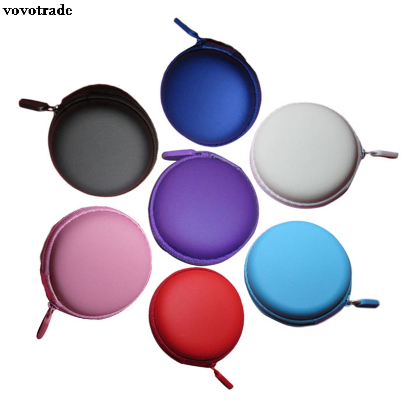 toopoot Portable Mini Round Hard Storage Case Bag for Earphone Headphone SD TF Cards Black Blue Pink Purple Red SkyBlue White 1pc hold case storage carrying hard bag box for earphone headphone earbuds memory card black blue red pink color