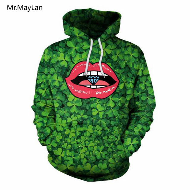9bde81517 Saint Patrick's Day Lucky Four-leaf Clover 3D Print Red Lip Diamond Hoodies  Men/Women Hipster Pullover Hood Sweatshirts Jacket