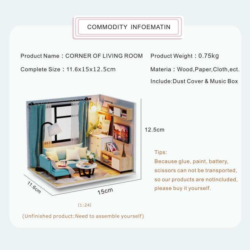 Cutebee casa de boneca móveis em miniatura casa de bonecas diy brinquedos para crianças diy casa de bonecas presente para o aniversário H18-4