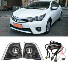 Front Fog Lights Fog lamps For Toyota Corolla 2014 2015 2016 foglights Halogen bulbs Switch Wires Grilles Covers car Clear Lens