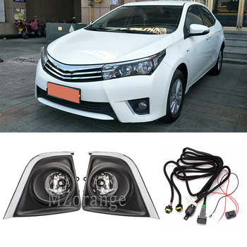 цена на Front Fog Lights Fog lamps For Toyota Corolla 2014 2015 2016 foglights Halogen bulbs Switch Wires Grilles Covers car Clear Lens