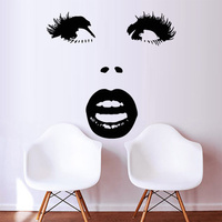 Details about Wall Decal Sticker Vinyl Girl Face Lips Sexy Eyes Beauty Salon 20inchx35inch