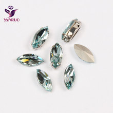 YNARUO 4200 Navette Aquamarine Blue Strass K9 Fancy Rhinestones Claw Settings Sewn Crystal for Clothing Wedding Dress