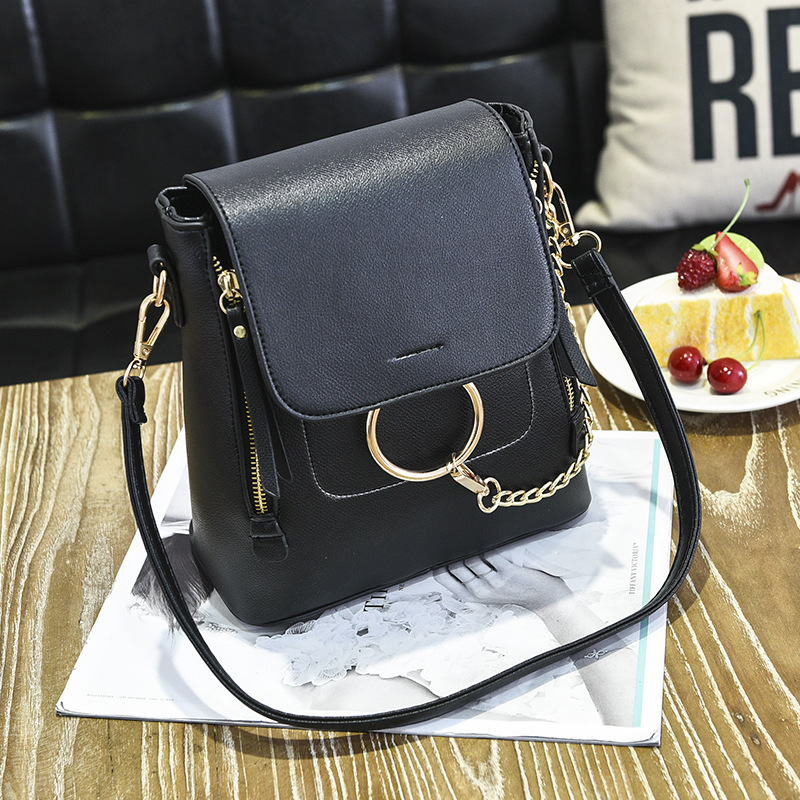 Famous Brand Backpack Women Backpacks Solid Vintage Girls School Bags for Girls Black PU Leather Women