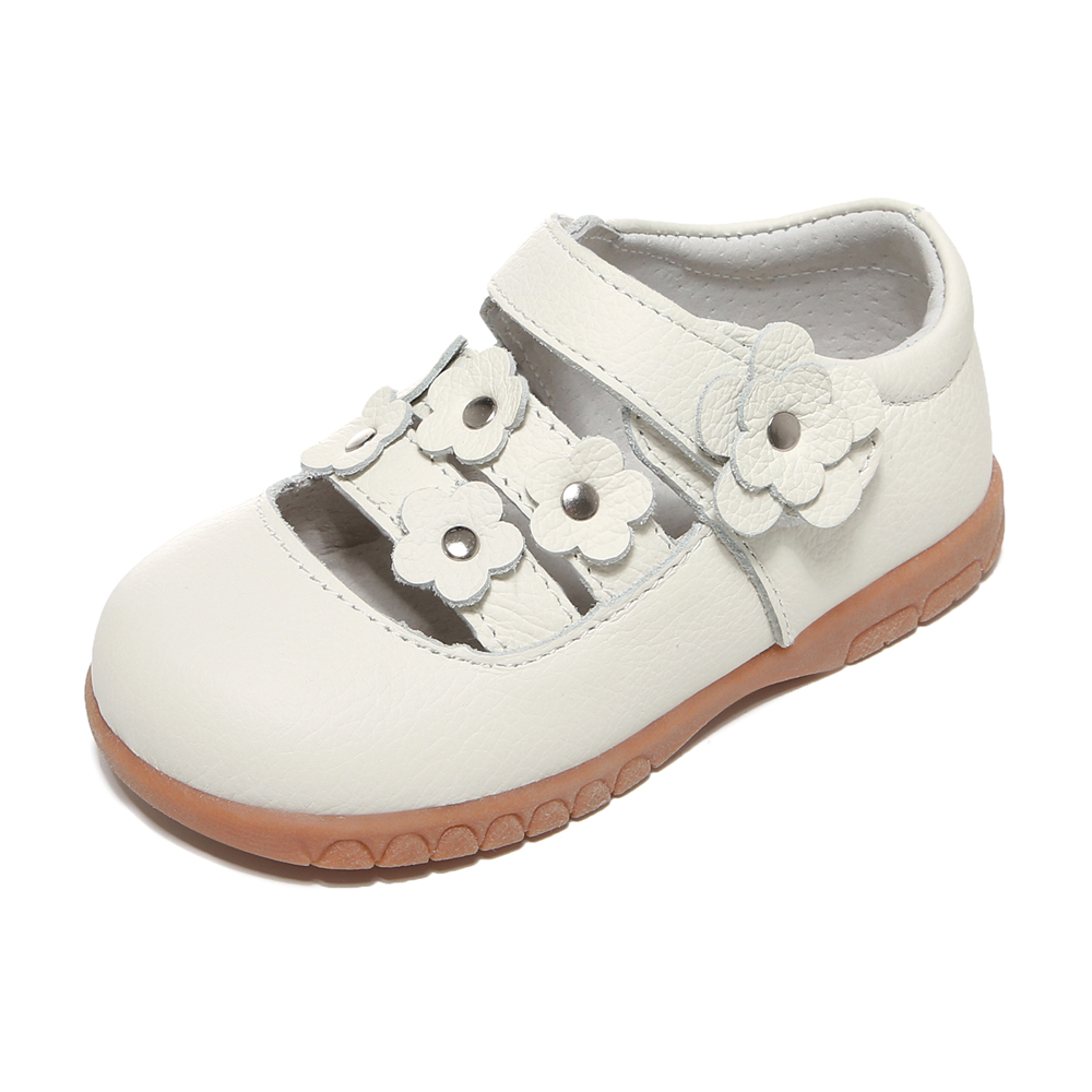 Girls Shoes Genuine Leather White Mary Jane Small Flowers Children Shoes Little Kids Shoe For Christenning Wedding Formal Wear
