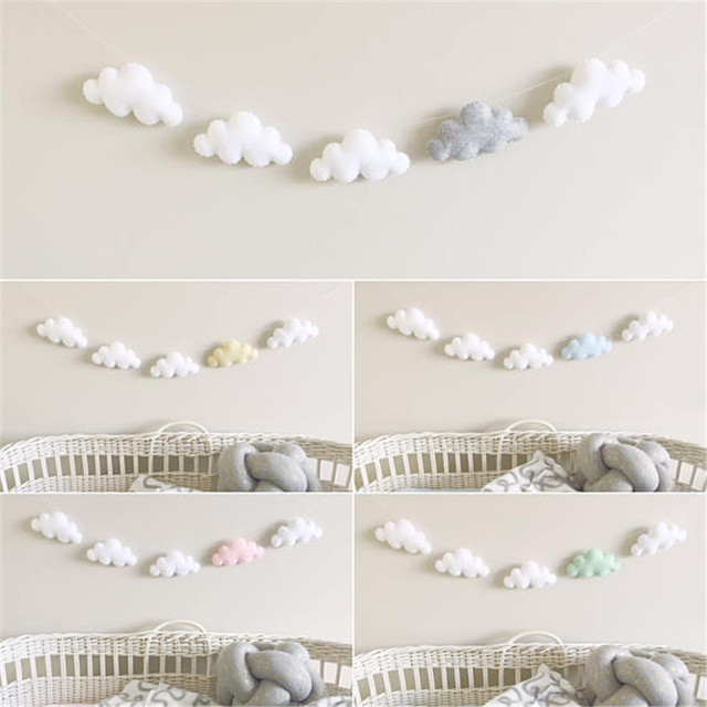 5 stk/set Hot Verkoop Vilt Cloud Guirlande Party Banner Kinderkamer Nursery Opknoping Muur Decor Kerst Beste Wieg Mobiele Baby bed Bel