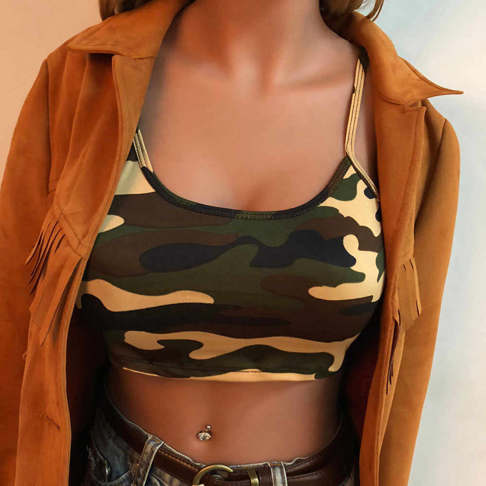 2019 Camouflage Sexy Strapless Sleeveless Tank Top Bustier Bra Vest Crop Top T Shirt Casual Comfortable Crop Blouse Sleeveless