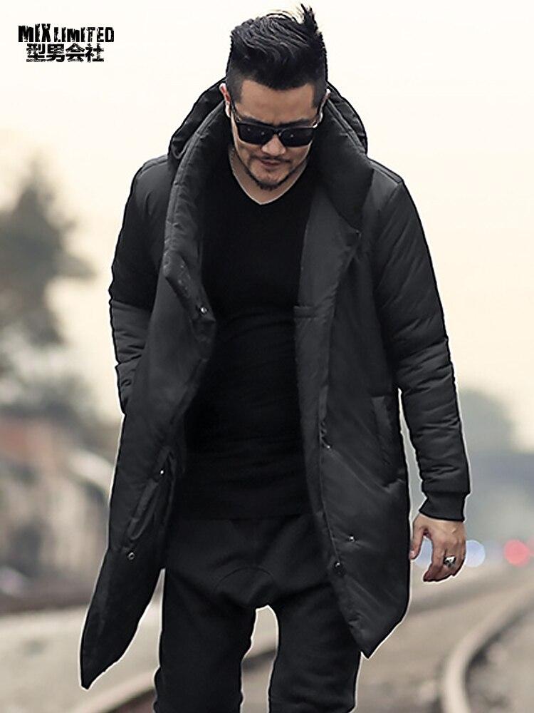 Men New Winter Slim Long Thick Cotton Padded Warm Hooded Coat Metrosexual Man Black Casual European Style Brand Coat F7160