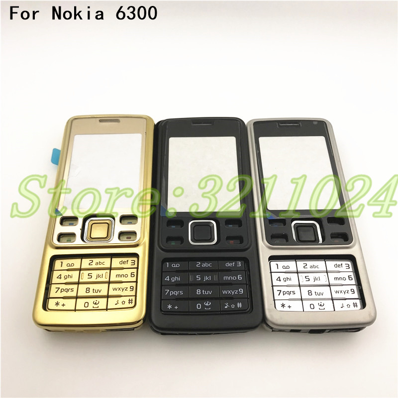 Original New For <font><b>Nokia</b></font> <font><b>6300</b></font> <font><b>Housing</b></font> Cover Door Frame + Battery Back cover+Keypad +Logo image
