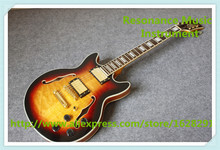 New Arrival Vintage Sunburst Quilted ES Electric Guitar China OEM Maple Hollow Body For Sale