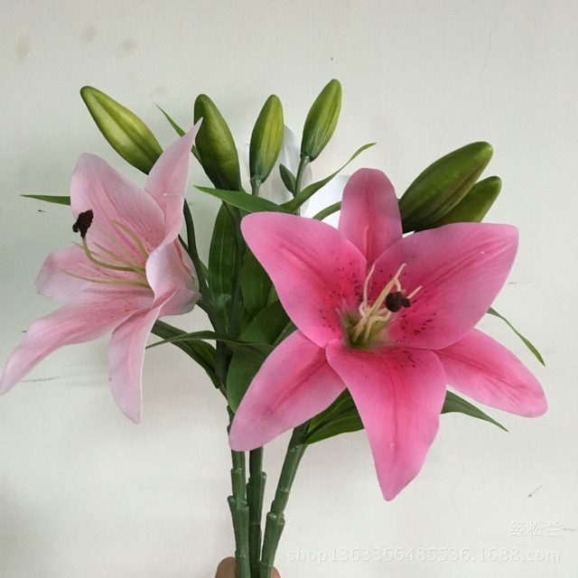 1PCS Lily Flower Artificial Silk White lilies PU Simulation Flowers ...