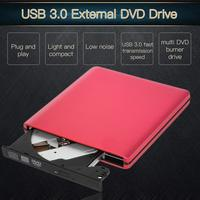 Red Slight USB 3.0 Portable External DVD RW/CD RW Burner Writer Rewriter Optical Disc Drive CD DVD ROM Player Support Win Mac OS