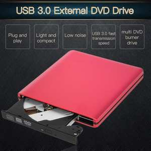 Writer Rewriter Optical Disc Drive CD DVD ROM Player Red Slight USB 3.0 Portable