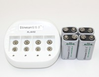 4pcs ETINESAN 9v 550mAh lithium ion Rechargeable 9 Volt GPS microphone li Battery + 4 slots 9v li ion charger