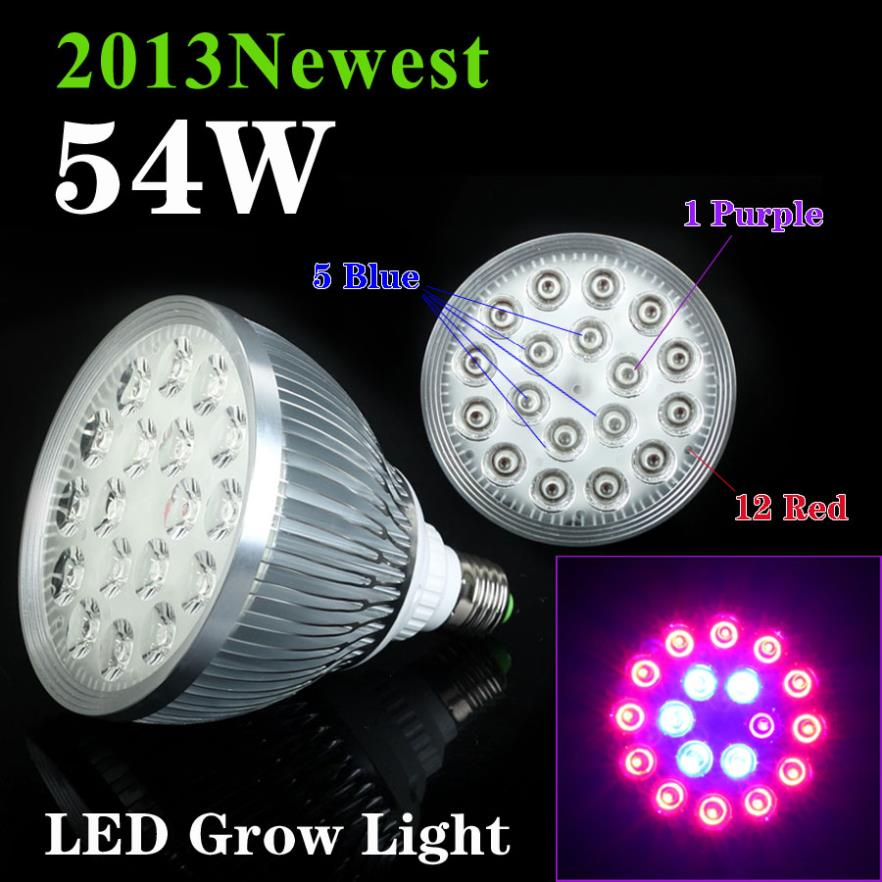 ФОТО 54W 12RED&5BLUE&1Purple 18LEDsx3W LED Hydroponic Plant Grow Lights For Gurden