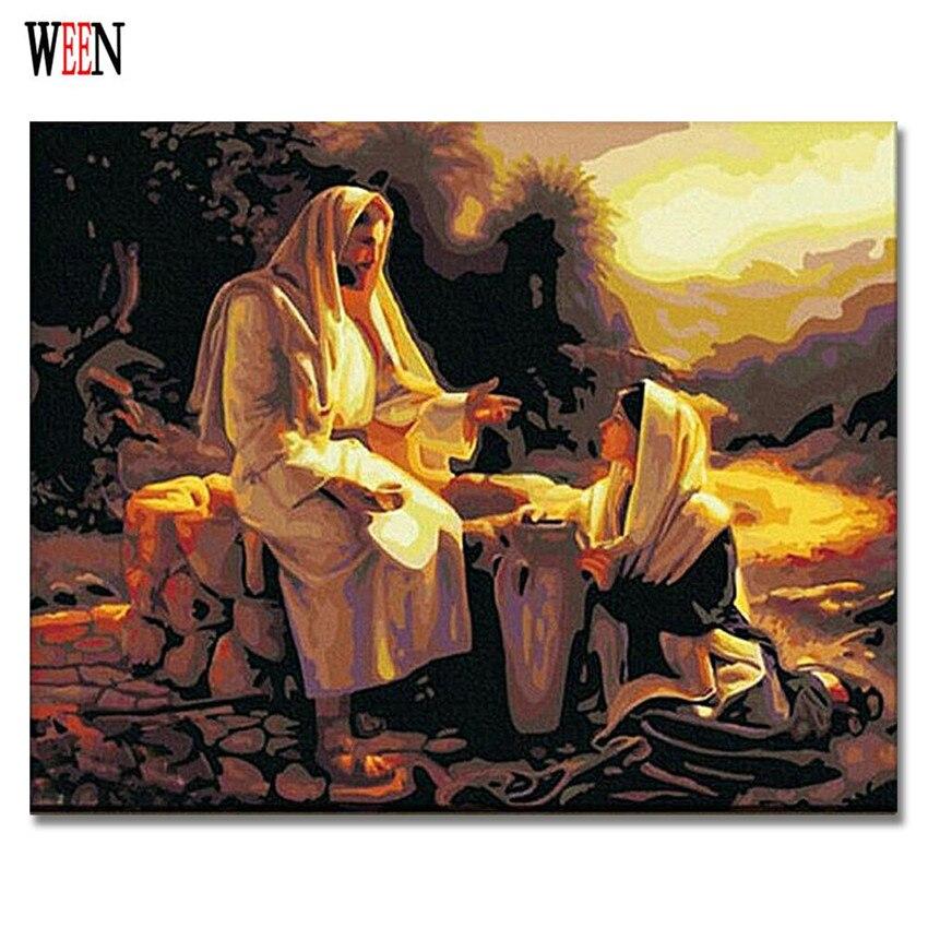 Pintura De Entre Jesús Salvador Cuadros Por Números En Lienzo Diy Pintado A Mano Figura Para