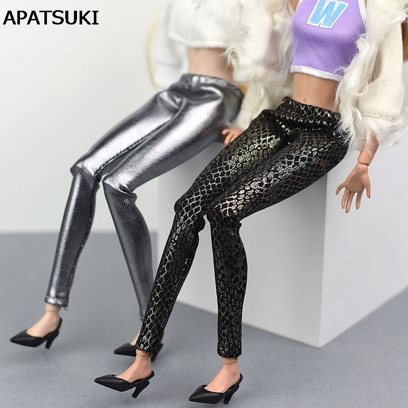 Fake Snake Silver Leather Bottoms Trousers Long Pants For Barbie Doll Clothes Fashion Trousers For 1/6 BJD Dolls Accessories 30 new styles festival gifts top trousers lifestyle suit casual clothes trousers for barbie doll 1 6 bbi00636