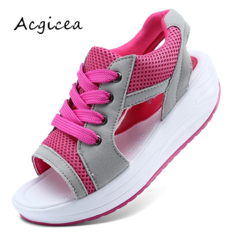 IINFINE 2018 New Hand-Knitted Shoes Womens Muffin Thick-Bottomed Shake Shoes Wedges Summer Shoes