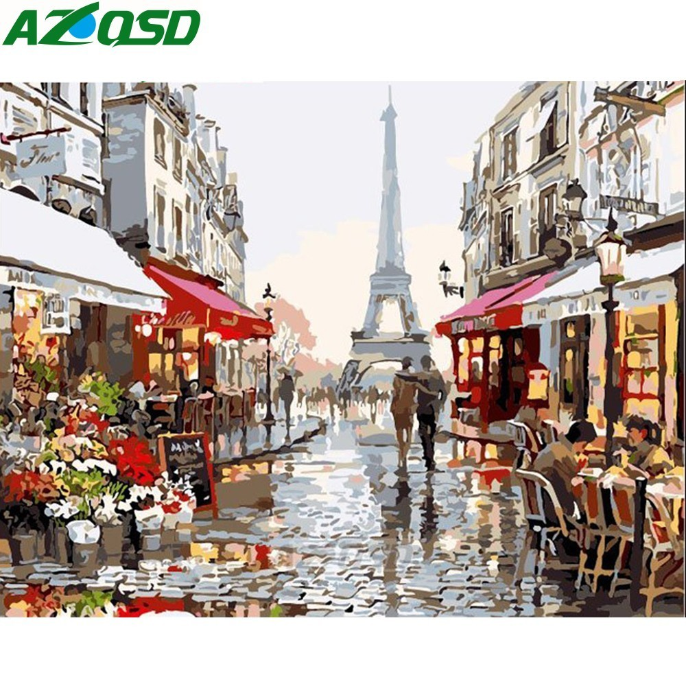 AZQSD Painting By Numbers Frameless 40x50cm Paris Street Oil Painting Picture By Numbers On Canvas Home Decor Szyh347